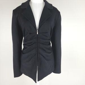 St John Caviar black blazer with rouching